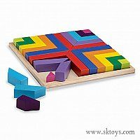 Pattern Play Blocks - The versatile Pattern Play blocks are a great introduction to math concepts like sorting, matching, symmetry, congruence and fractions. This high-quality set fits just-so into its wood tray, with vibrant colors and unusual shapes that build spatial skills. http://www.sktoys.com/buy/149901/pattern-play-blocks/
