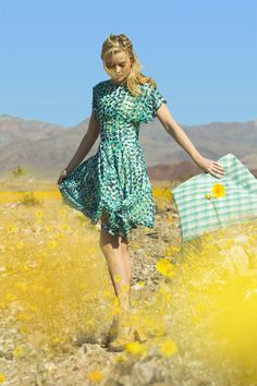 Poppy Chiffon Fit And Flare Dress Blue