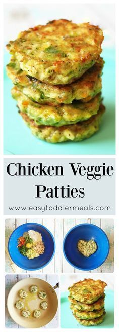 Veggie Patties Packed with lots of veggies, but comes close to a chicken nugget!Packed with lots of veggies, but comes close to a chicken nugget! Baby Food Recipes, Cooking Recipes, Chicken Recipes For Babies, Recipes For Toddlers, Baby Lead Weaning Recipes, Kid Veggie Recipes, Toddler Dinner Recipes, Chicken Ideas, Cooking Ideas