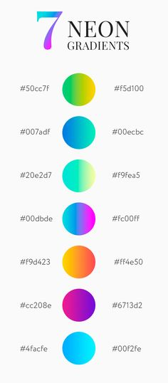 Seven bright and juicy neon gradients for any design. Seven bright and juicy neon gradients for any design. Neon Colour Palette, Colour Schemes, Gradient Color, Color Trends, Graphic Design Tips, Graphic Design Inspiration, Color Inspiration, Color Psychology, Psychology Meaning