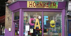 Hornbeam Cafe , Walthamstow, London. An eco-centre cafe with all vegan food, run by it's users and a base for local food and environmental education projects. Last Saturday of the month offers a 3 course seasonal supper. Local , seasonal and organic produce is used.
