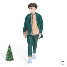 Street snap illustration  by @as84356 Special present for my you!  Merry Christmas!  #christmas #beret #green  #glasses #illustration #art #artwork #jianjianlai #streetsnap #plainme #instaday #ootd #like4like #instagood #instadaily #instastyle #mensfashion #menswear #taiwan