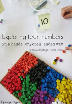 Learn with Play at Home: Exploring teen numbers. Open-ended, hands-on maths for kids. #spielgaben