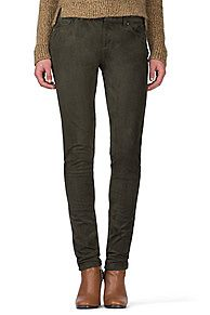 Suede-look skinny trousers with a low waist and a hint of stretch for comfort and fit. Zip fly with a top button closure. Five-pocket styling and regular belt loops.