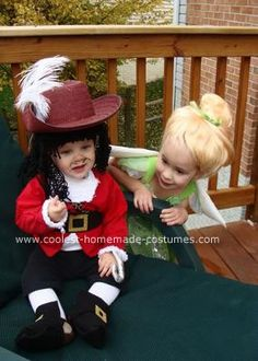 Homemade Baby Captain Hook Halloween Costume: My daughter was dressing up as Tinkerbell, (which was a store bought costume), and I desperately wanted to have her brother in on the Peter Pan theme.