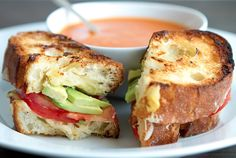 grilled cheese with green garlic butter, tomato and avocado