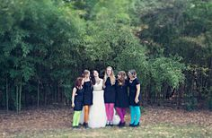 Bridesmaids in bright tights + black dresses  ... Wedding ideas for brides, grooms, parents & planners ... https://itunes.apple.com/us/app/the-gold-wedding-planner/id498112599?ls=1=8 ... plus how to organise your entire wedding ... The Gold Wedding Planner iPhone App ♥