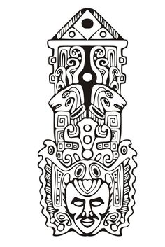 Free coloring page coloring-adult-totem-inspiration-inca-mayan-aztec-7. Totem inspired by Aztecs, Mayans and Incas - 7 (Source : rocich / 123RF)