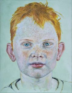 """Saatchi Art is pleased to offer the painting, """"The boy with the red hair,"""" by Guus van Lingen, available for purchase at $4,010 USD. Original Painting: Oil on Canvas. Size is 45.7 H x 35 W x 0.8 in. Oil On Canvas, Canvas Art, Original Paintings, Original Art, Red Hair Paint, Saatchi Art, Red Hair Boy, Redheads Freckles, Turquoise Background"""