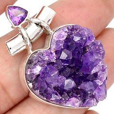13g Heart - Amethyst Druzy 925 Sterling Silver Pendant Jewelry SP197002 | eBay
