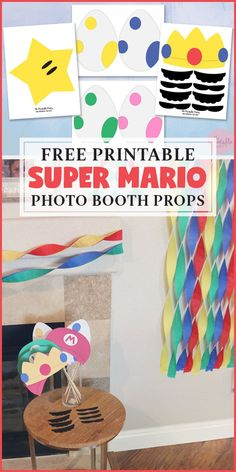 Free Party Printables Super Mario Photo Booth Props and Party Decorations Super Mario Birthday, Mario Birthday Party, Super Mario Party, Boy Birthday Parties, Super Mario Bros, 7th Birthday, Birthday Ideas, Princess Peach Party, Streamer Party Decorations