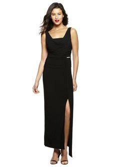 SLFASHIONS Black Cowl Neck Sleeveless Jersey Gown