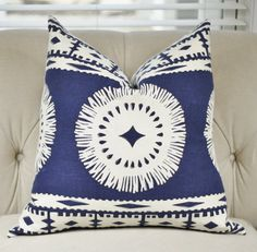 Schumacher Pillow Cover Mary McDonald Blue and by MotifPillows
