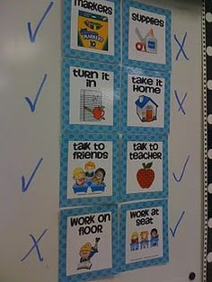 great idea    This is one of my FAVORITE classroom management tools!! It can be soooo time consuming to answer the questions...Can we use markers?, Do we turn this in?, Is this a talking activity? I love using these assignment choice signs to answer those questions without me doing the work.  Once I give directions for an activity, I quickly place checks and X's by the cards and my students know exactly where to look for the answer.