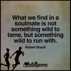 what we find in a soulmate is not something wild to tame, but something wild to run with  - robert brault