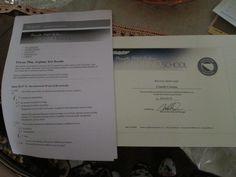 Uno dei due quiz di fine corso... con accanto il mio graduation certificate...