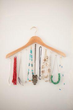 DIY Wood Hanger Necklace Holder - Dwell Beautiful
