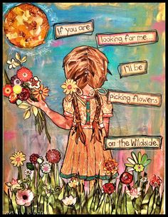 Mixed media girl picking wild flowers by ArtbyAshleeRay on Etsy, $15.00