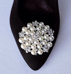 Bridal Shoe Clips Pearl Crystal Rhinestone Shoe Clips Wedding Party (Set of 2) SC034LX by LXdesigns on Etsy https://www.etsy.com/listing/100581890/bridal-shoe-clips-pearl-crystal
