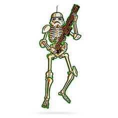 """Old-school cardboard skeleton with movable joints in the form of a 3"""" tall Stormtrooper from Star Wars."""