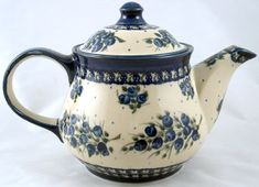 Charming hand painted Polish Pottery Teapot ~ Made in Poland
