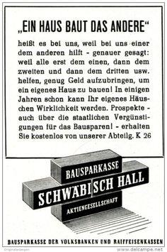 Original-Werbung/ Anzeige 1958 - BAUSPARKASSE SCHWÄBISCH-HALL -  ca. 60 x 90 mm
