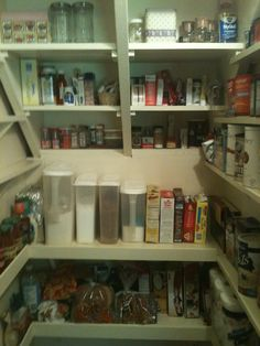 Previous pinner said: We added shelves to the back wall of our walk- in pantry . We were able to do this by adding the under the stairs drawer. Pantry Shelving, Pantry Storage, Kitchen Storage, Pantry Organization, Shoe Storage, Pantry Closet, Walk In Pantry, Kitchen Pantry, Utility Closet