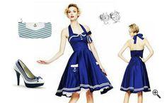 Kleid im Marine Look Damen Marine Kleid mit Petticoat Marineblaues