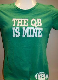 dca84565 QB is Mine- Football Girlfriend or Football Mom shirt via Etsy Football  Girlfriend, Football