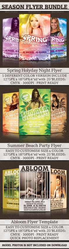 Season Flyer Bundle  #GraphicRiver         Any CLUB ,MAGAZINE OR EVENT parties can be successfully promoted with these great flyer templates. The whole flyers are designed to be modern, and that's why it uses modern fonts and colors. Can be used as Poster, Flyer, E-Flyer template for any entertainment events. Layered Photoshop files organized in folders with editable text and flexible layer styles. Easy to edit, replace text, add images, logos, etc.. Enjoy!   The PSD file is setup at 1275px…