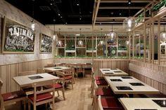 Tajimaya Shabu Shabu restaurant by STUDIO C8, Hong Kong » Retail Design Blog Hotpot Restaurant, Oak Restaurant, Restaurant Tables, Restaurant Ideas, Design Blog, Cafe Design, Store Design, European Cafe, Bbq Table