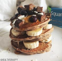Squarebar stack attack!!!! #rg by @healthforhappy: perfect post-run breakfast! just my usual vegan and gluten free pancake recipe from the blog cooked with added lucuma + chunks of a cocoa almond Squarebar {one of the three flavours I was lucky enough to receive from the lovely @squarebars team!} layered with banana + coconut cream + blueberries + more @squarebars + coconut + pure maple syrup! http://www.squarebar.com