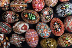 "Halyna Mudryj decorated these pysanky eggs. Pysanky comes from the Ukrainian word, ""pysaty,"" which means ""to write."" Pysanky are intricately..."
