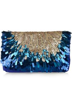 Salvo de NET-A-PORTER  Source : tinamotta.tumblr.com clutch bag covered in beige beads and beautiful irridescent blue rectangles*