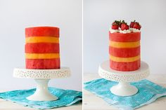 """Let's get real, this summer fruit """"cake"""" might not be much of a """"cake"""" at all. But the tiered treat is still sweet and refreshing, and just might be the best way to eat (and show off) summer's tastiest fruits. Summer Fruit, Summer Desserts, Fruit Slice, Watermelon Slices, Strawberry Cakes, Serving Dishes, Vanilla Cake, Tasty, Treats"""