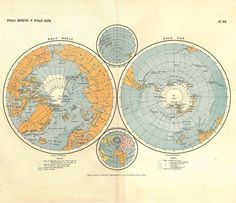 Beautiful vintage North & South Pole Map