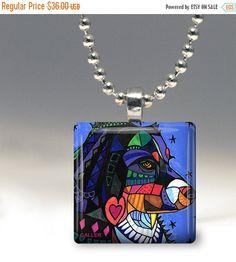 55% Off TODAY- Australian Shepherd Dog Folk Art Jewelry - Pendant Glass Gift Art Heather Galler Gift- Dog Lovers Abstract Modern