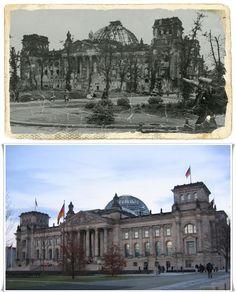 Berlino 1945 I resti bruciati del Reichstag, un cannone tedesco antiaereo 88 millimetri visibile in primo piano . Il Reichstag è stato un obiettivo particolare per i bombardieri sovietici grazie al suo significato simbolico #2aGUERRAMONDIALETHENANDNOW #BERLINO1945