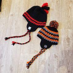 crocheted with Bernat Super Value yarn. I changed the earflaps a little Crochet Stitches, Knit Crochet, Crochet Patterns, Bernat Super Value Yarn, Earflap Beanie, Prayer Shawl, Crochet Crafts, Zig Zag, Winter Hats