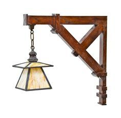 remarkable early 20th century american mission or craftsman style varnished oak wood oversized wall sconce with caramel slag glass shade