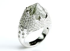 11.40ct Iceberg cocktail ring. Gorgeous center raw diamond. #diamondintherough