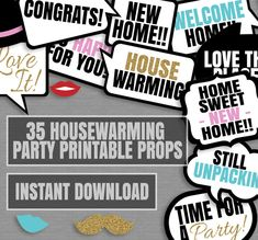 35 Housewarming Photo booth props, Props for house warming party, new home party…