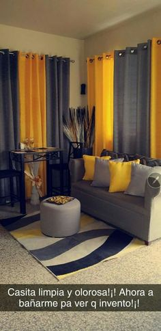 Living Room Decor Curtains, Living Room Decor On A Budget, Living Room Decor Colors, Living Room Color Schemes, Bedroom Decor, Home Room Design, Living Room Designs, Grey And Yellow Living Room, First Apartment Decorating
