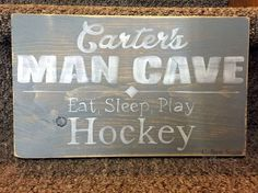 man cave sign | hand painted | rustic wooden sign | eat sleep play hockey Hockey Drawing, Man Cave Signs, Eat Sleep, Wooden Signs, Sisters, Cricut, Craft Ideas, Hand Painted, Rustic