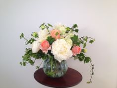 Peony and peach roses My Flower, Flowers, White Peonies, Peony, Glass Vase, Roses, Wedding, Home Decor, Valentines Day Weddings