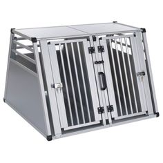 Double Dog Crate Large Dogs Aluminium Pet Carrier Transport Cage Travel Kennel