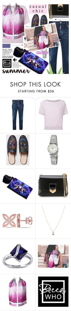 """""""Casual chic - Becca Who designs 3"""" by cly88 ❤ liked on Polyvore featuring Dsquared2, Agnona, Gucci, Longines, Jimmy Choo, Catherine Malandrino, Annoushka, Miadora, jeans and casualoutfit"""