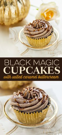 Totally delicious! Black magic cupcakes with salted caramel buttercream.