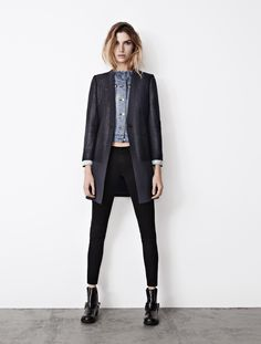 Denim jacket under a coat - Womens Spring 2013 LookBook   AllSaints