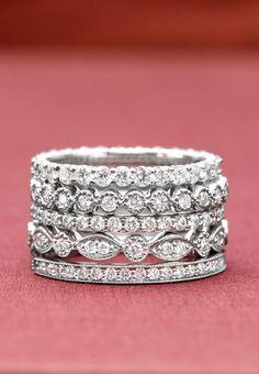 Diamond Wedding Rings : Vintage-inspired and stunning. - Buy Me Diamond Stacked Wedding Rings, Wedding Rings For Women, Stacked Rings, Trendy Wedding, Timeless Wedding, Wedding Ideas, Jewelry Box, Vintage Jewelry, Jewelry Accessories
